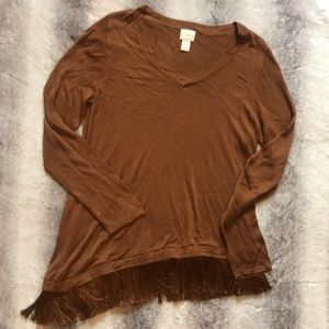 Chico's asymmetrical Fringe sweater toffee 1
